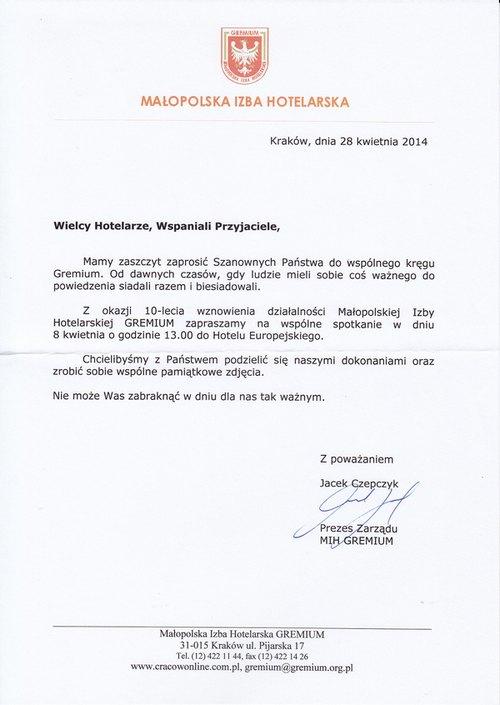 Aktualne Małopolska Izba Hotelarska Gremium - zaproszenie - TTG Dziennik PR36