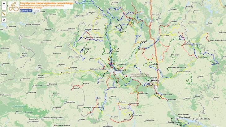 Mapa szlaków wojewóztwa kujawsko-pomorskiego