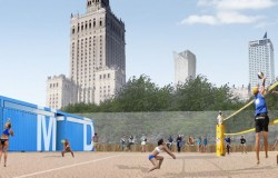 Plaża w cieniu Pałacu Kultury
