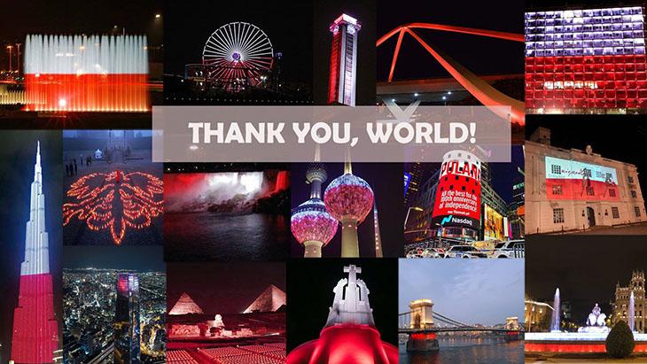 11 listopada na całym świecie na biało-czerwono rozświetliły się liczne budynki